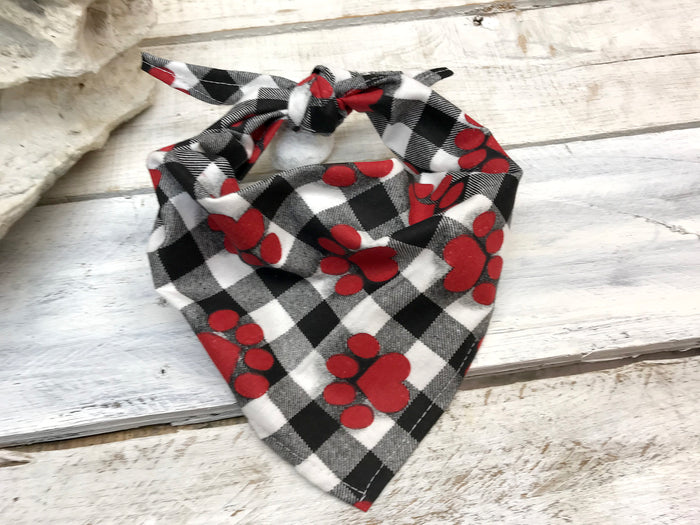 Paw Prints On Buffalo Plaid dog bandana, Personalized Dog Bandana