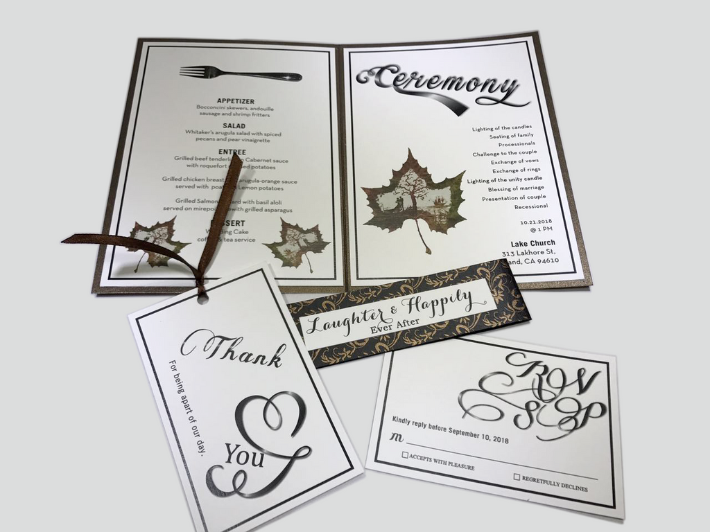 Maple Autumn Foil Wedding Invitation - OakPo Paper Co.