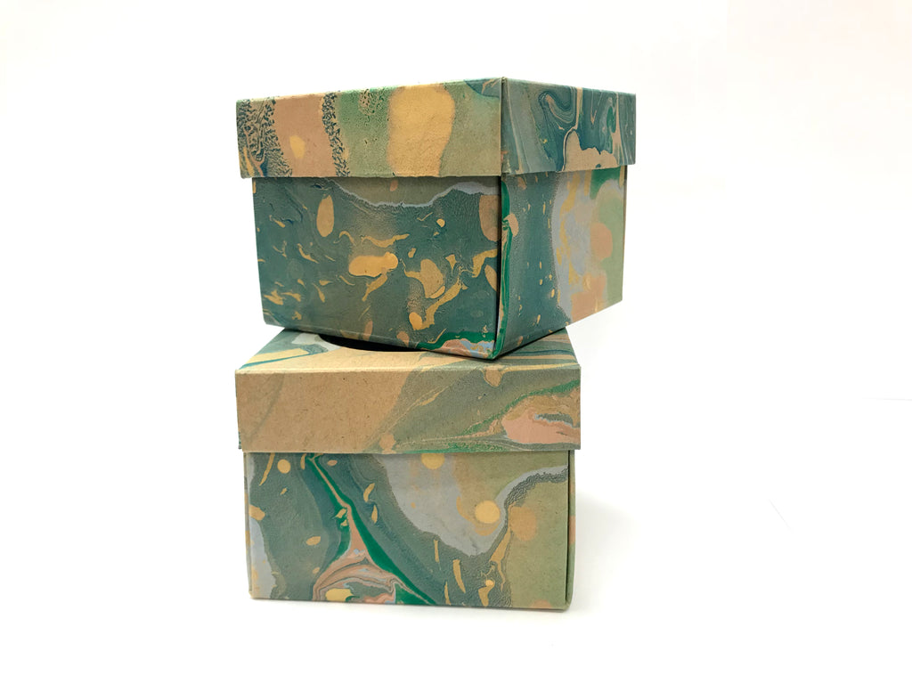 10 Marbled Gift Box with Window -- 3.45''x3.45''x2.75'' - OakPo Paper Co.