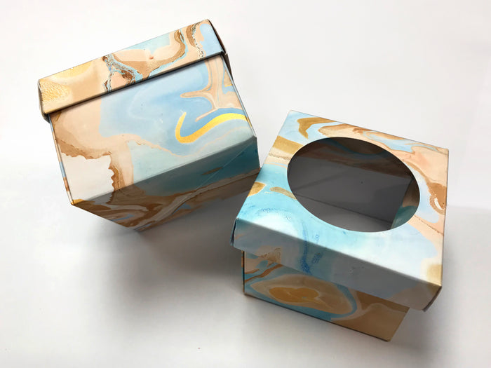 10 Marbled Porthole Gift Box Blue and Gold--3.45''x3.45''x2.75'' - OakPo Paper Co.