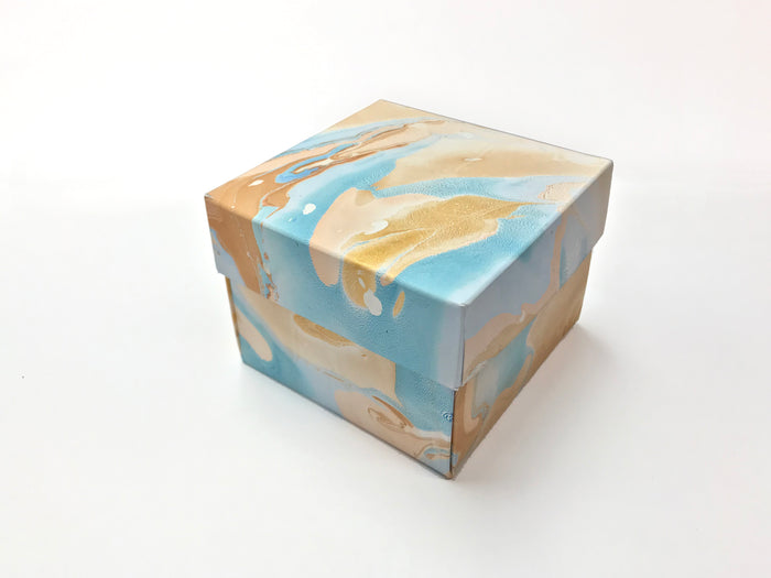 10 DIY Marbling gift box with lid - 3.45''x 3.45''x 2.75''