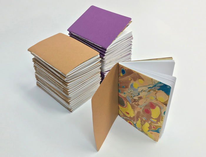 3.5''x5'' Pocket Notebooks, Whipped Berry/Kraft /White cover - OakPo Paper Co.