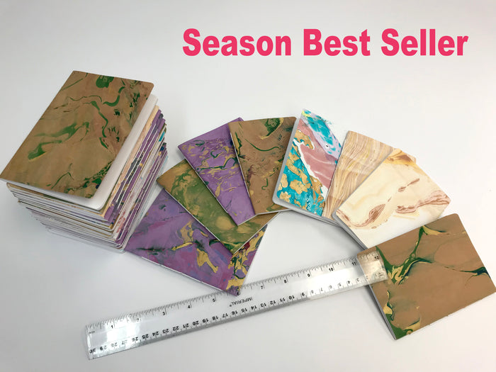 Sale 50% OFF--3.5''x5'' Hand-marbled Notebooks, - OakPo Paper Co.