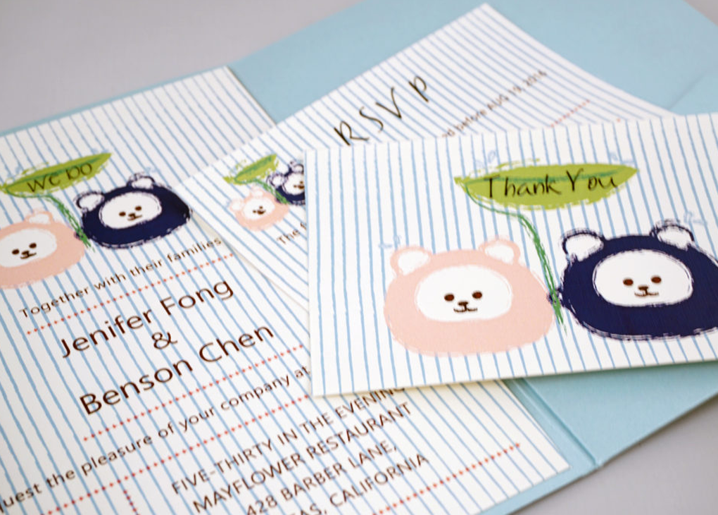 Love Bears Wedding Invitation Card # B4 - OakPo Paper Co.