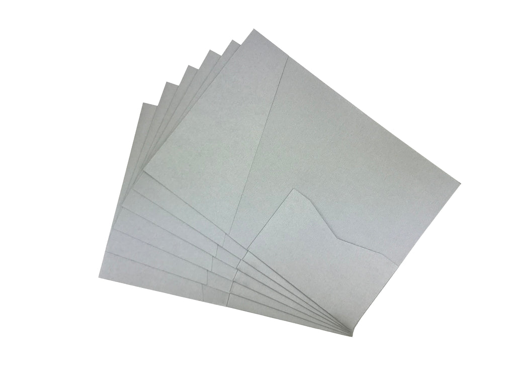 Silver-- Acutie Trifold Pocket Invitations (5 1/8'' × 7 1/4'') - OakPo Paper Co.