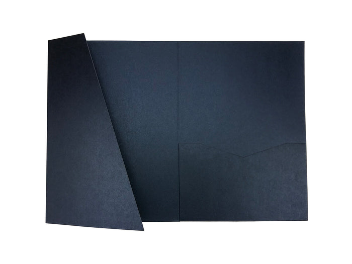 Navy Blue -- Acutie Trifold Pocket Invitations (5 1/8'' × 7 1/4'') - OakPo Paper Co.