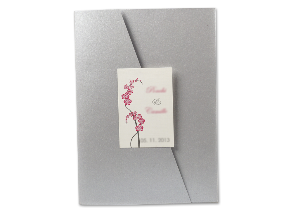 Purple Orchid Trifold Wedding Invitation Card # A8