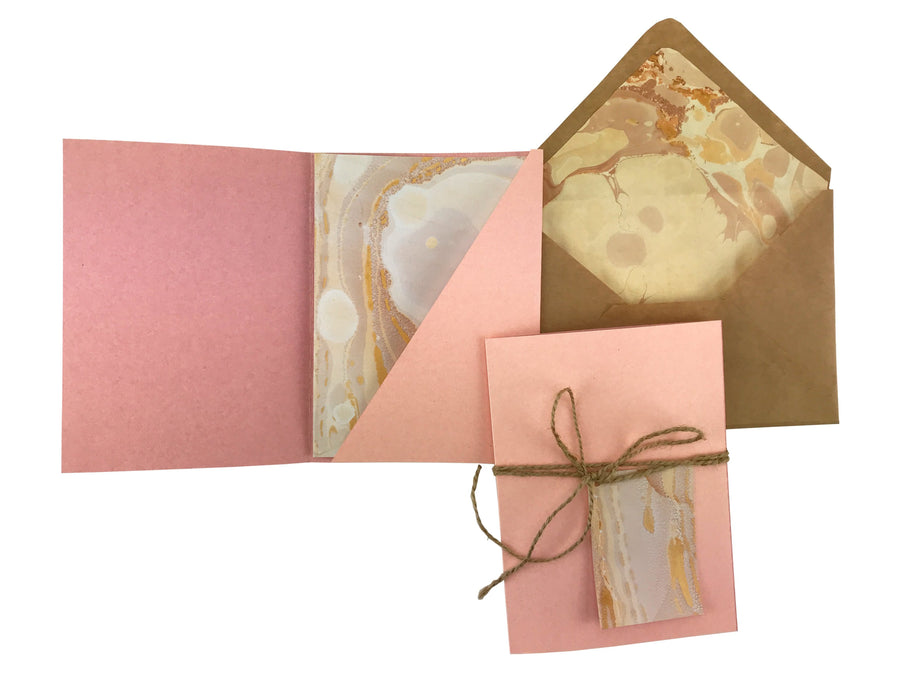 Seashell Pink Midi Marbled Card Kit - OakPo Paper Co.