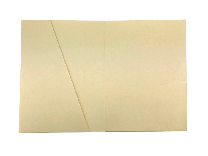 Champagne -- Acutie Trifold Pocket Invitations (5 1/8'' × 7 1/4'') - OakPo Paper Co.