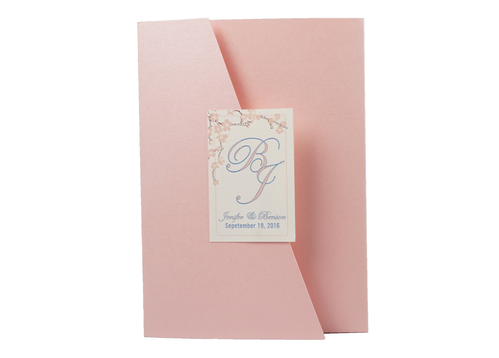 Trifold Pink Blossoms Wedding Invitation Card # A4