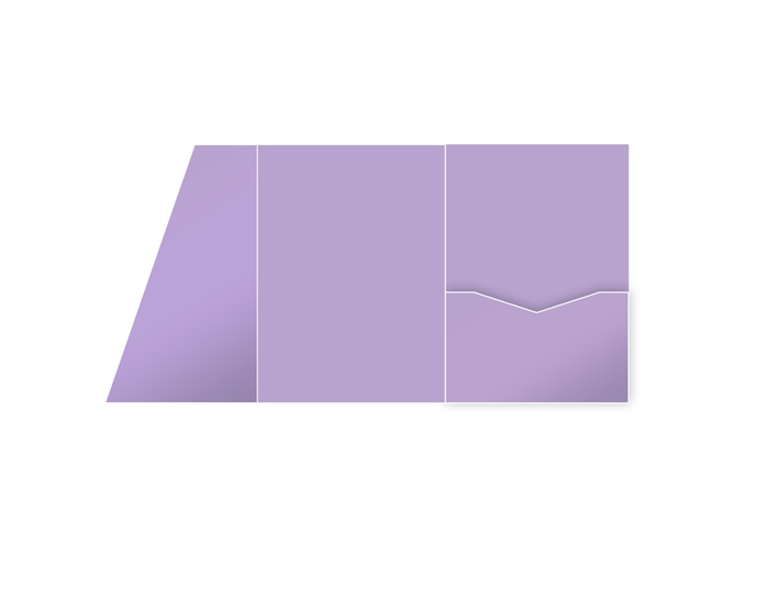 Tri-fold Pocket Invitation Slanted Style -- Lavender