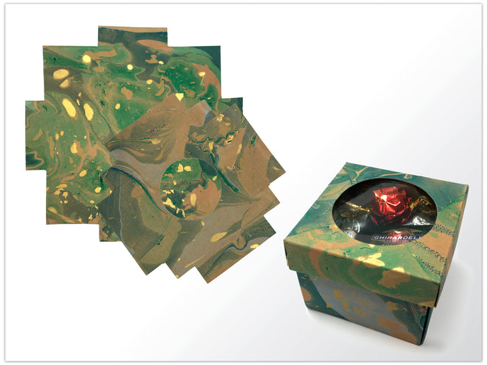 10 DIY Marbling Porthole Gift Box -- 3.45''x3.45''x2.75'' - OakPo Paper Co.
