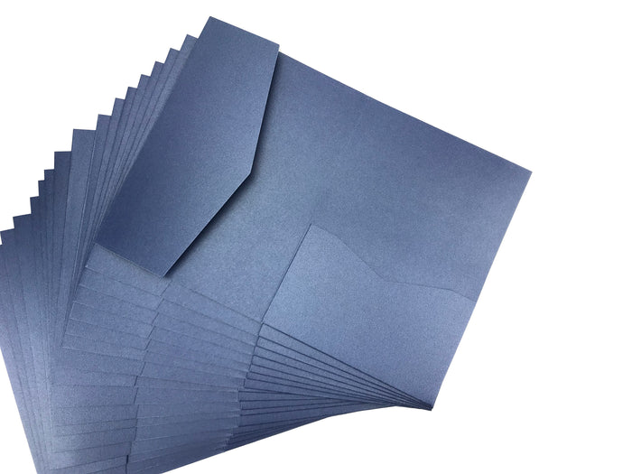POCKET INVITATIONS STYLE B (5 1/8 × 7 1/4)--SAPPHIRE-- 10 pieces - OakPo Paper Co.