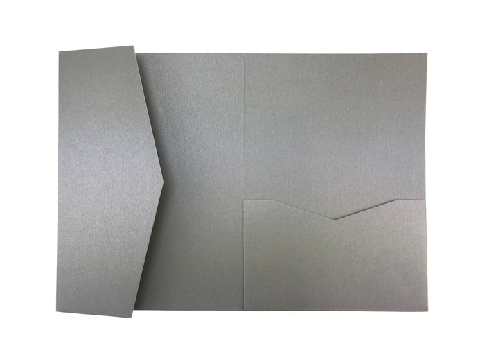 Silver--Pocket Invitations Style B (5 1/8 × 7 1/4) - OakPo Paper Co.