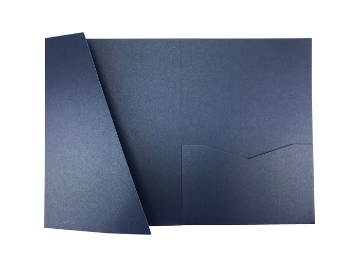 Sapphire -- Acutie Trifold Pocket Invitations (5 1/8'' × 7 1/4'') - OakPo Paper Co.