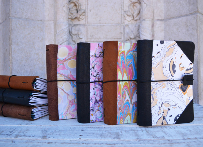 MARBLED Journal with leather bound - OakPo Paper Co.