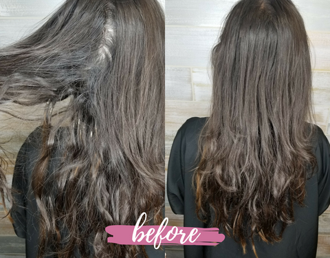 Sue's client showed up with a head full of sticky residue and matted extensions.