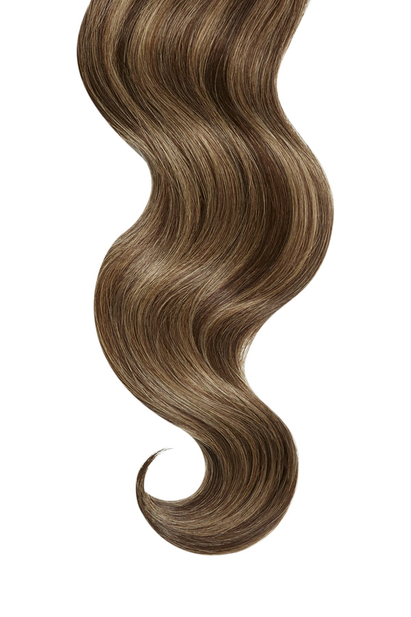 Chocolate Brown Highlights Ultra Seamless Tape In Hair Extensions