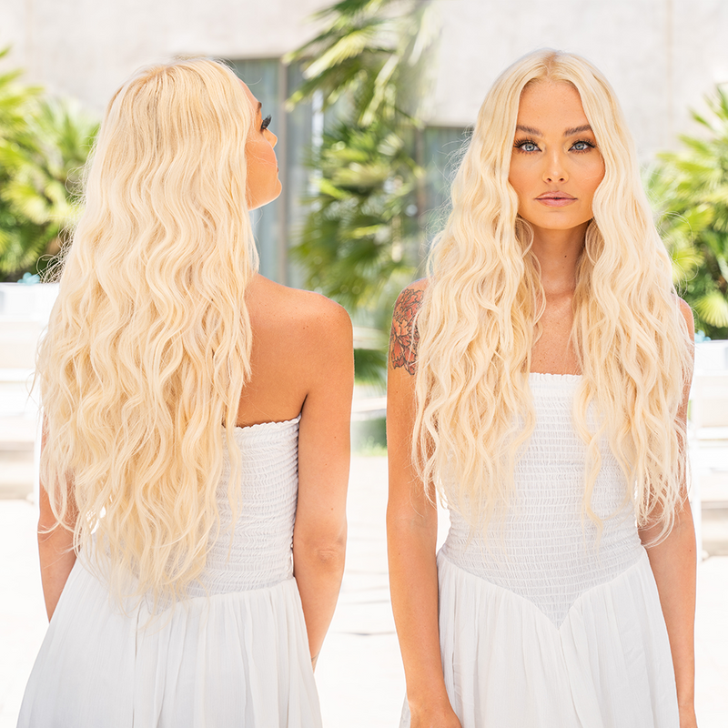 Bright Blonde Clip In Hair Extensions