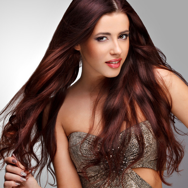 Traditional Hair Weft Bundle Red Merlot
