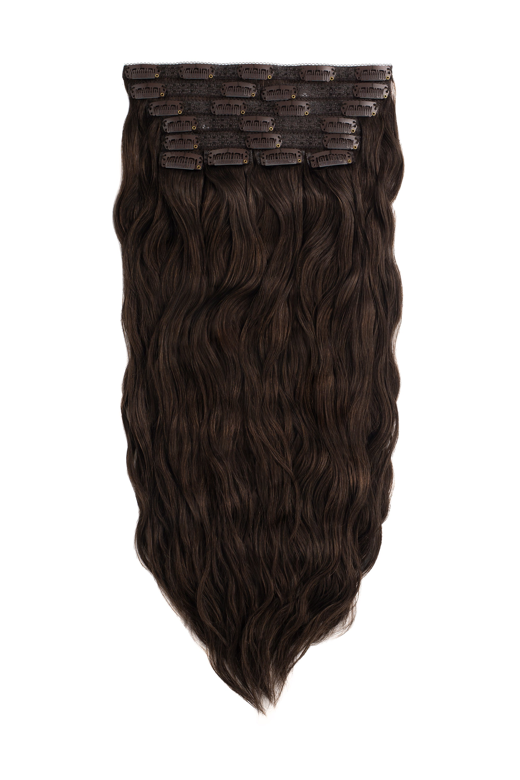 dark brown beach wave clip in