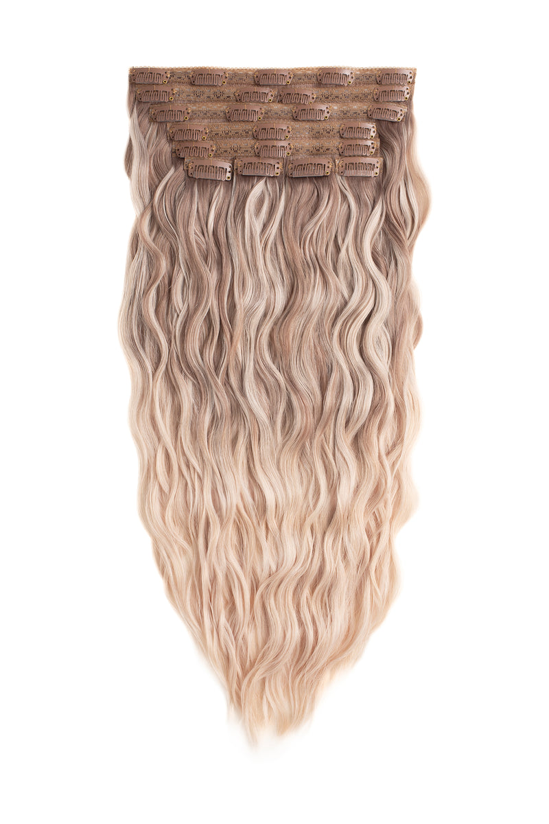 Iced Champagne Blonde Balayage Beach Wave Clip-In