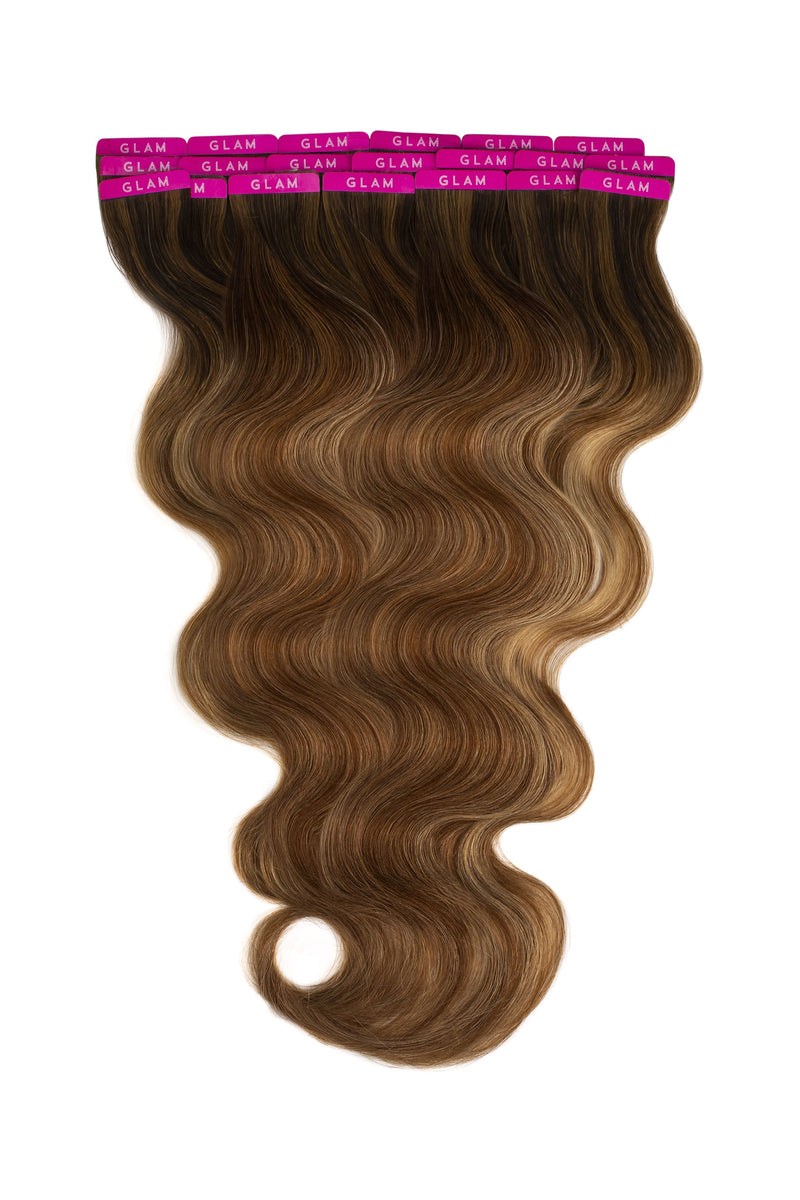 Mocha Bronde Balayage Beach Wave Tape In Hair Extensions