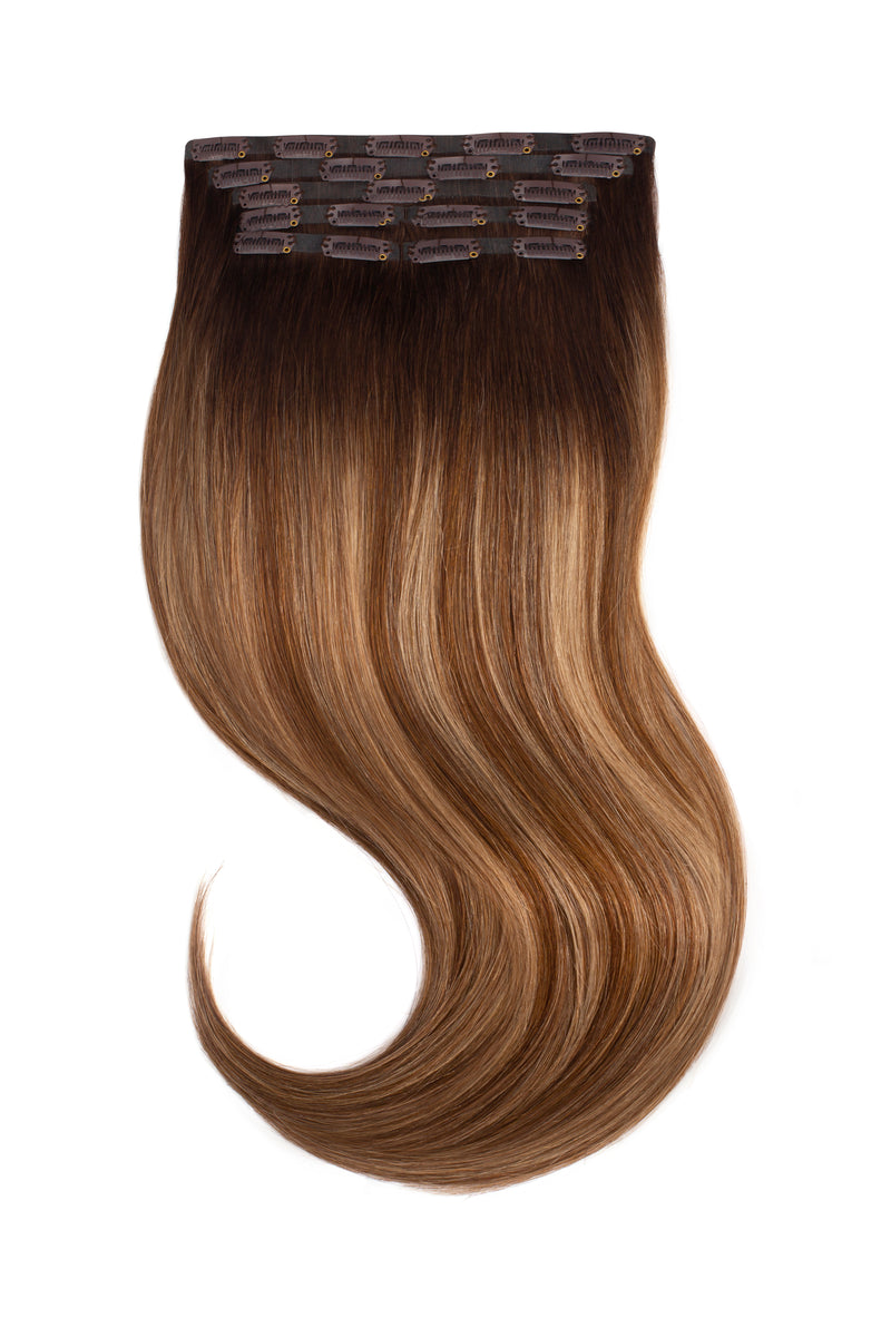 Soft Brunette Balayage Clip In Hair Extensions