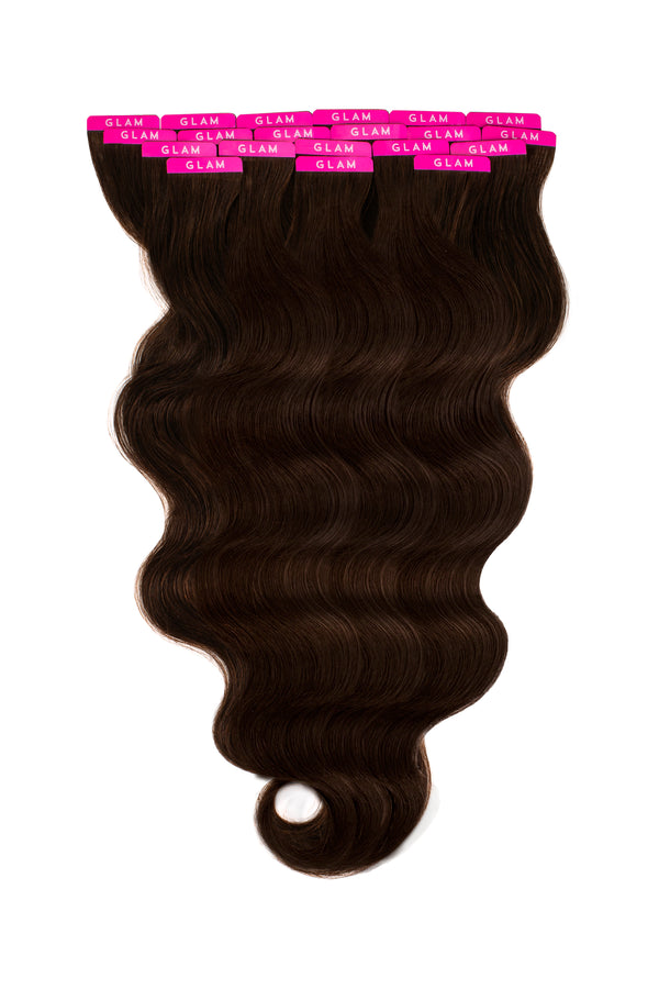 Dark Brown Beach Wave Tape In Hair Extensions