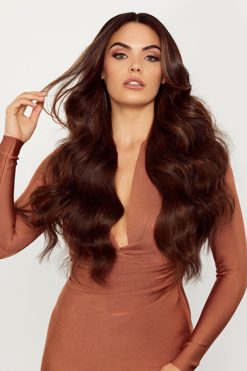 Wavy Tape In Hair Extensions Chocolate Brown