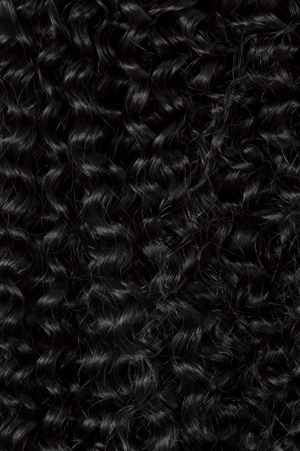 Jet Black Tight Curl Clip In Hair Extensions