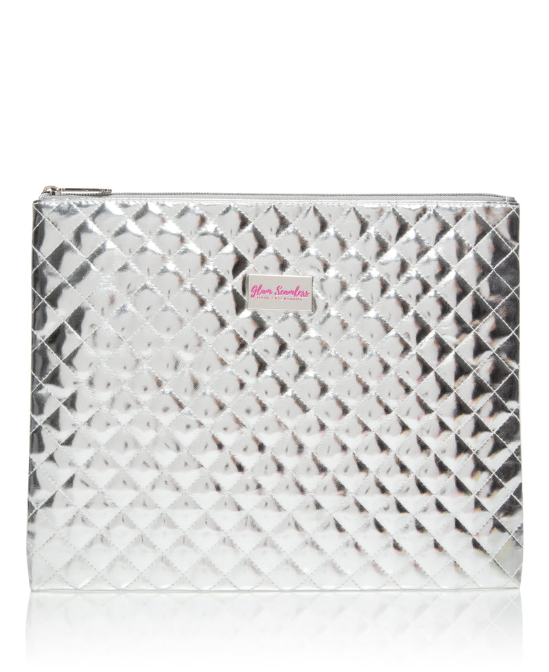 Glam Seamless Large Silver Quilted Flat Bag