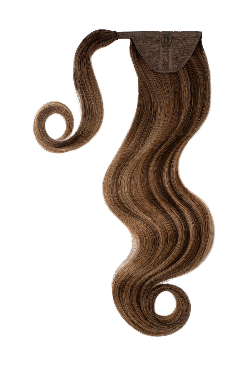 Soft Brunette Balayage Clip In Ponytail Hair Extensions