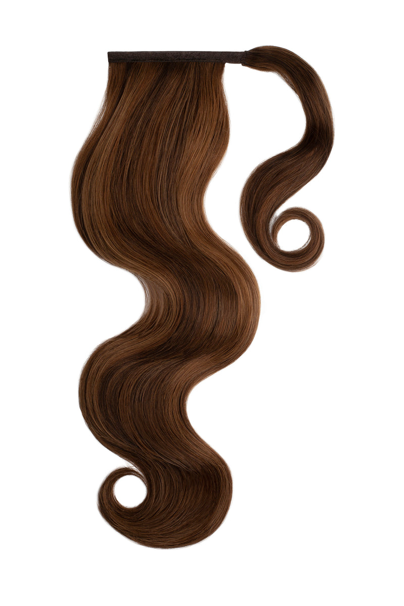 Brown Sugar Swirl Highlighted Clip In Ponytail Hair Extensions