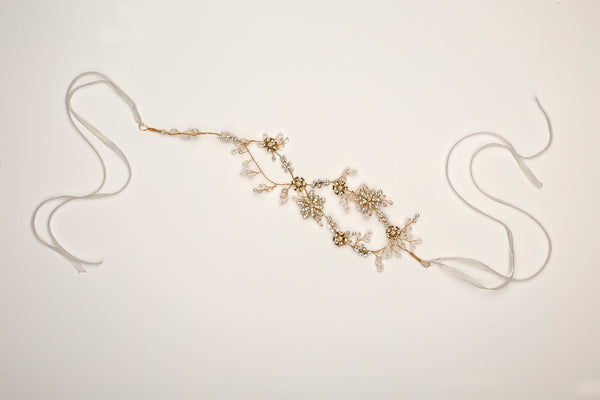 Gold Floral Vine Bridal Headband