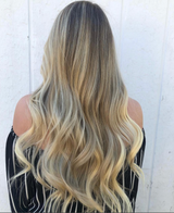 Seamless Clip In Hair Extensions Honey Blonde with Highlights
