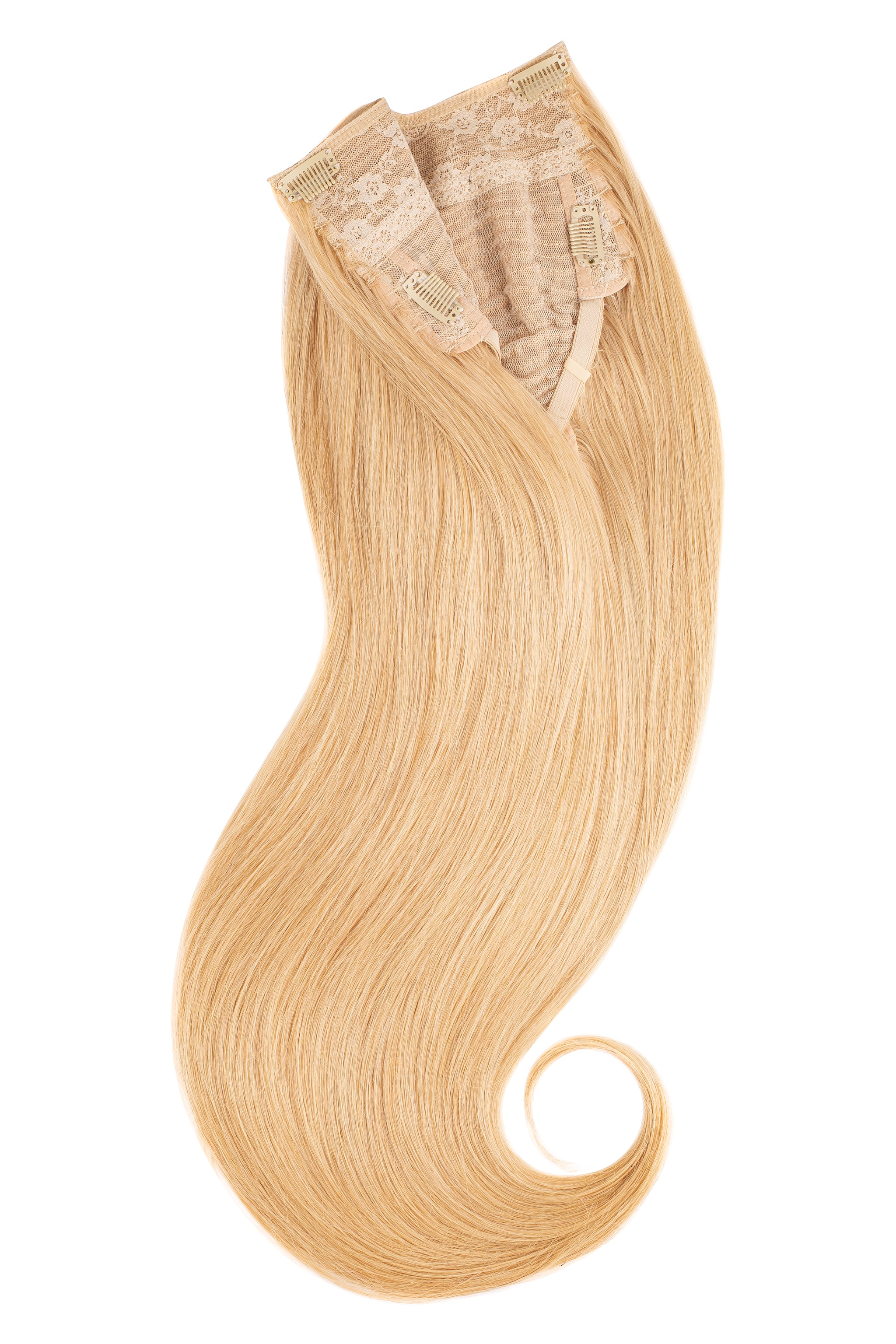 Glam seamless u part halo extensions golden blonde