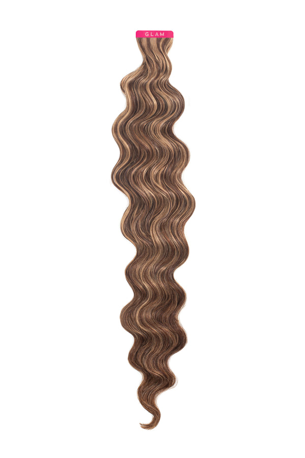 Warm Brunette Highlights Wavy Tape In Extension