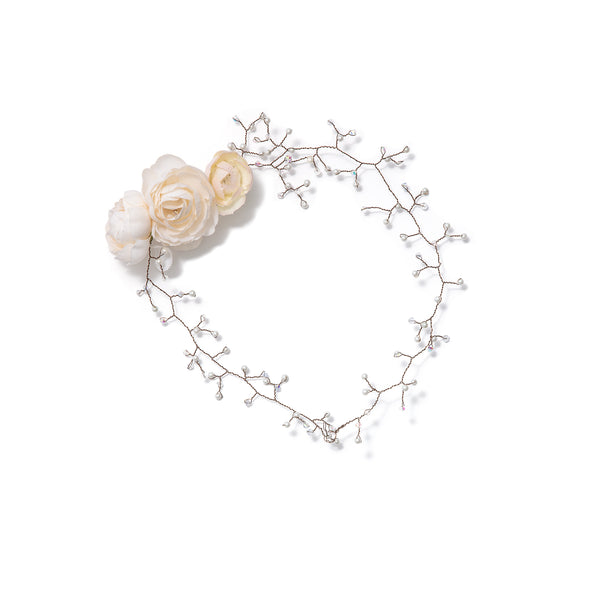 Floral Bridal Crown with Pearls