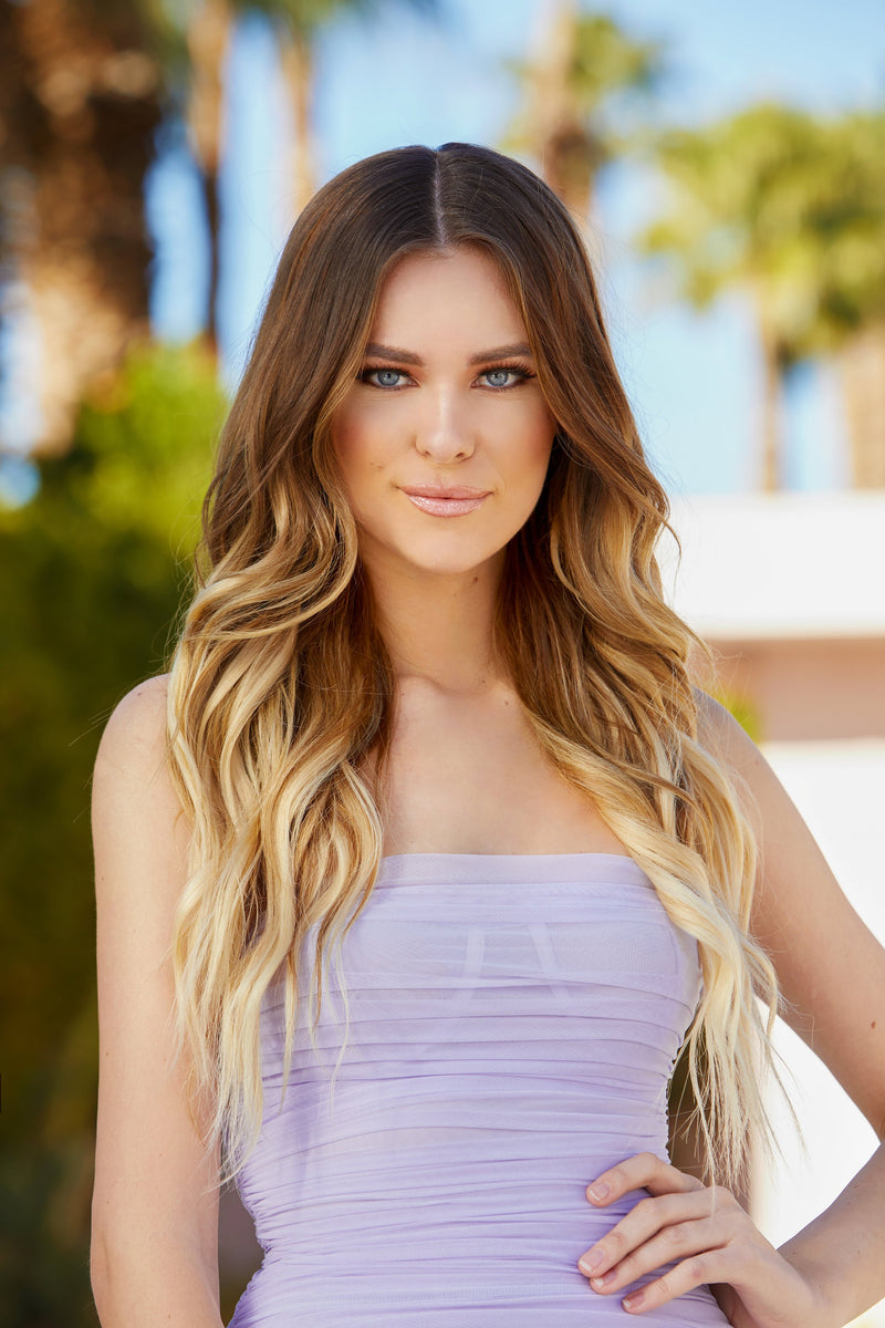 balayage blonde wavy tape extensions
