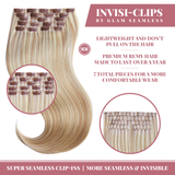 Seamless Clip In Hair Extensions Natural Dark Blonde with Highlights