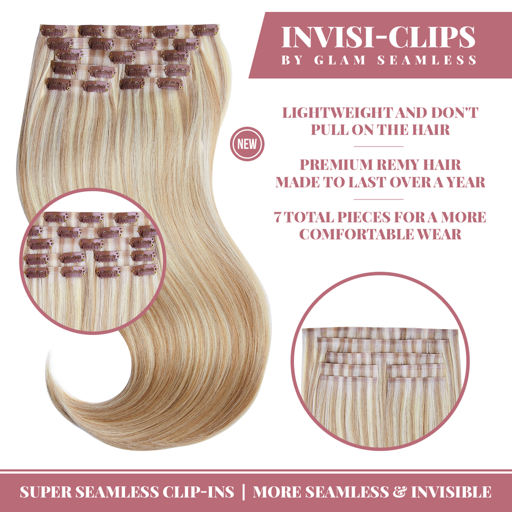 Light Golden Blonde Clip In Hair Extensions Glam Seamless