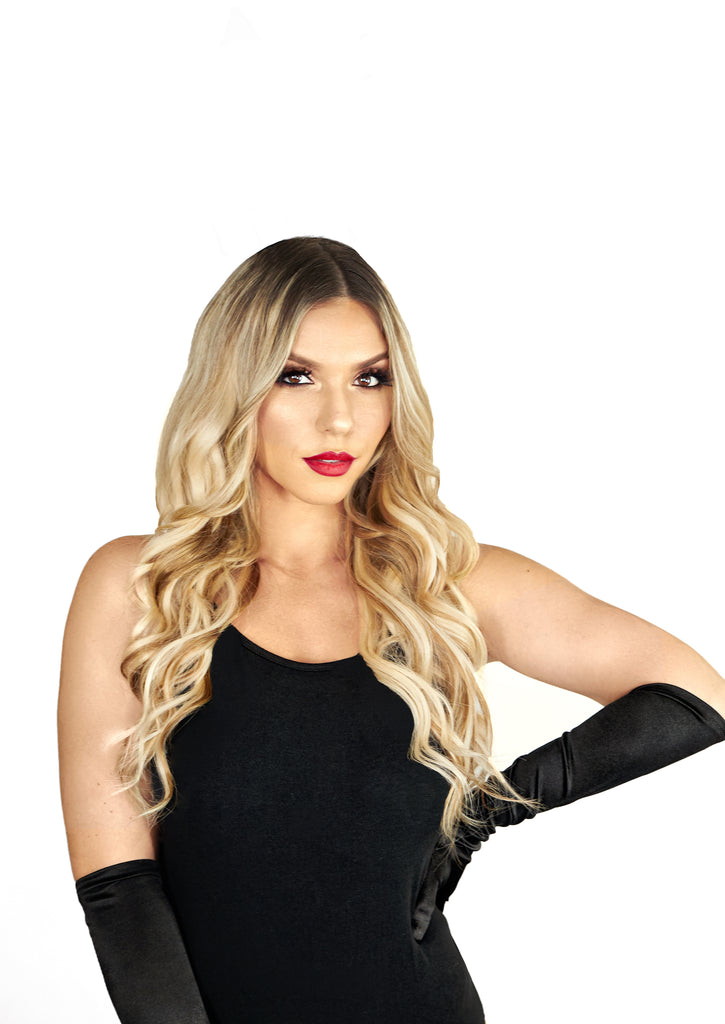 Halo Hair Extensions Ash Brown And Blonde Highlights Glam Seamless