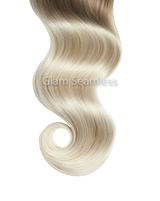 Rooted Blonde to Platinum Ash Blonde Skin Weft Hair Extensions