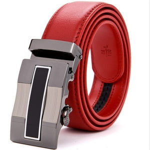 Genuine Red Leather Designer Man's Smart Belt, With High, Quality Automatic Smart Buckel   (Free Shipping)