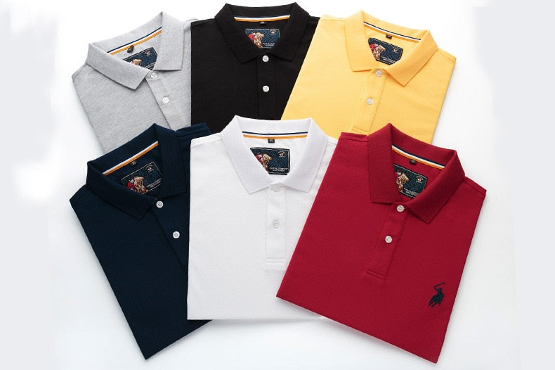 New Casual Men's Short Sleeve Polo Shirts 3D Embroidery Slim Fit Cotton Solid Color Polos (Free Shipping)