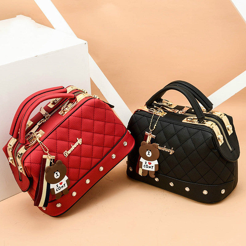 Trendy European Ladies Fashion Handbag, Girls Shoulder Bag, Bear Pend, Crossbody Quality (Free Shipping)