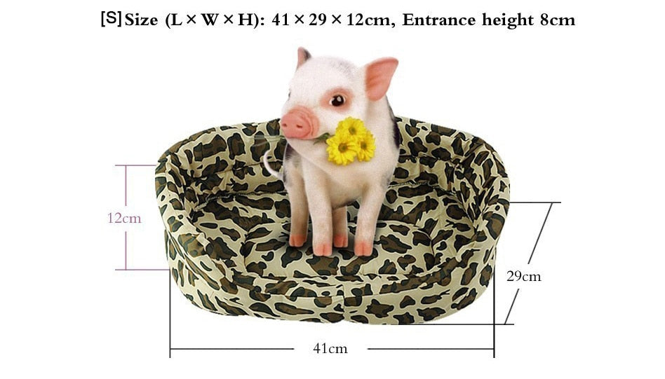 5 Sizes Pet Bed Sofa Leopard Print Soft Mat Cushion Kitten Puppy and Cat Cuddly Couch (Free Shipping)