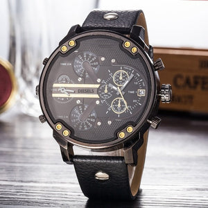 Reloj Montre Military Quartz Watch Leather Strap 53mm Stainless Steel Men's Watch (Free Shipping)