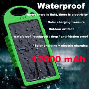 5000mAh Solar Power Bank Waterproof Shockproof External Battery For Your iPhone 7 7Plus (Free Shipping)